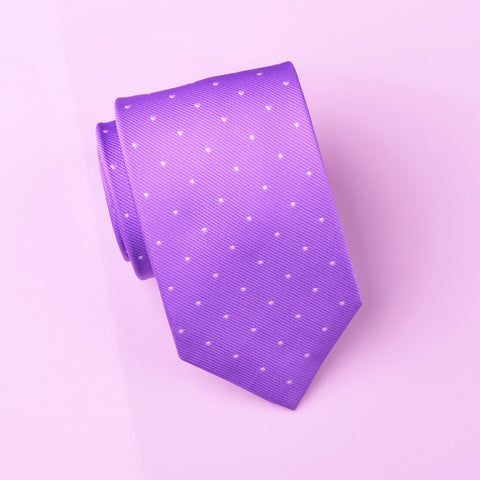 Purple Violet Small Polka Dots Designer Luxury Tie 8cm