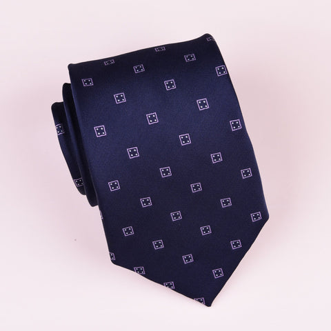 Lucky Hard 8 Four Dice Navy Blue Designer Regular Woven Tie 8cm