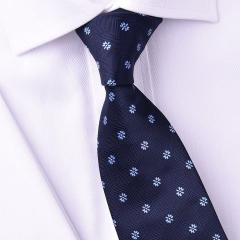 Navy Blue Herringbone Twill Electric Shock Emblem 8cm Tie
