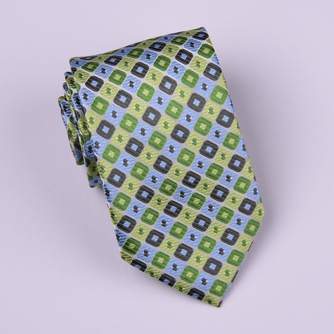Green Matrix Patterned Designer Squares Checks Regular Tie 8cm