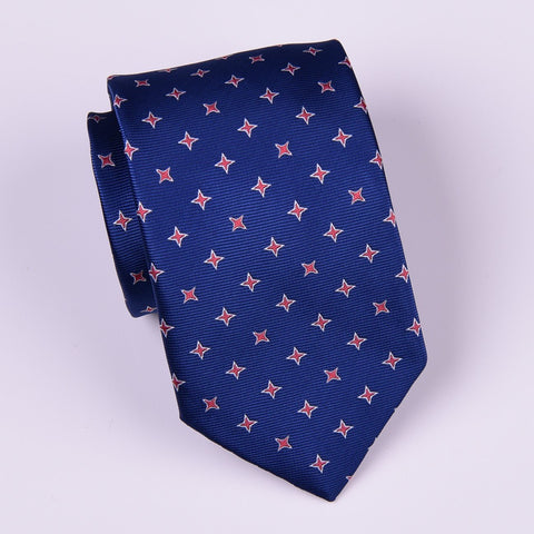 Red Ninja Diamond Stars Navy Blue Regular Woven Tie 8cm