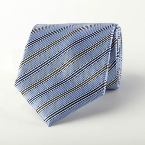 Light Blue Business Diagonal Striped Italian Style Wide Tie