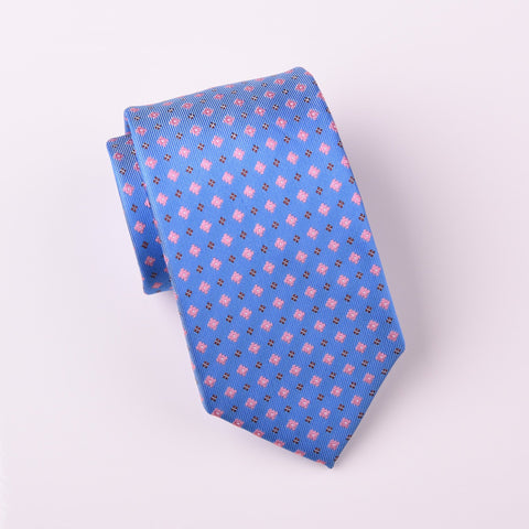 "B2B Shirts - Pink Floral Red Diamond Studs Designer Blue Luxury Woven Tie 3"" - Business to Business"