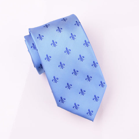 Blue Patterned Woven Tie with Blue Fleur-De-Lis Floral Luxury Fashion 8cm