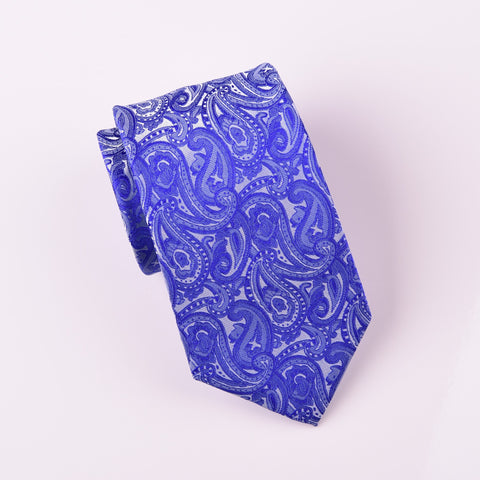 "B2B Shirts - Blue Lavish Paisley Floral Designer Luxury Fashion Woven Ties 3"" - Business to Business"