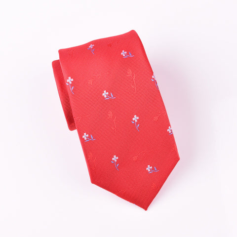 "B2B Shirts - Red Roses & Daisies Floral Designer Luxury Modern Woven Tie 3"" - Business to Business"