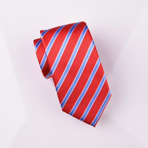 "B2B Shirts - Blue Striped Red Designer Dress Fashion Formal Luxury Modern Tie 3"" - Business to Business"