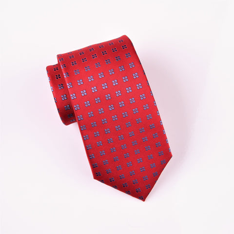 Navy Square Floral Pattern Red Woven Tie 3""
