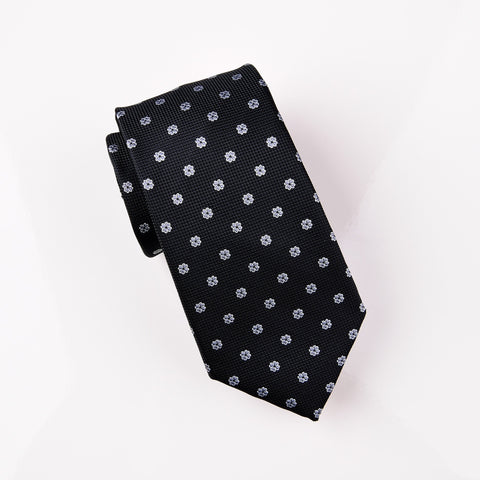 Winter Frosted Clover Black Floral Modern Woven Tie 3""