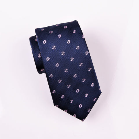 Navy Blue Herringbone Twill Stripe Modern Tie Electric Emblem Floral 3""