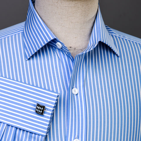 B2B Shirts - Classic Blue Striped Formal Business Dress Shirt Designer Fashion - Business to Business