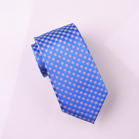 "B2B Shirts - Pink & Blue Luxury Basketweave Neat Geometric Modern Tie 3"" - Business to Business"