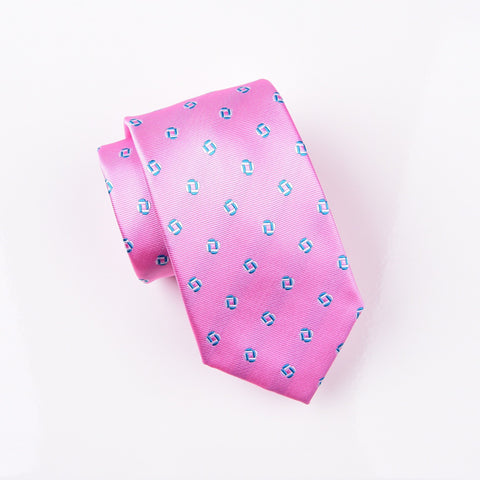 "B2B Shirts - Blue & Pink Geometric Linked Squares Neat Pattern Modern Tie 3"" - Business to Business"