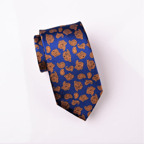 "B2B Shirts - Bronze Lavish Baroque Paisley Floral Blue Skinny Modern Tie 3"" - Business to Business"