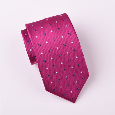 B2B Shirts - Blue Contrast Inverted Daisy Floral Magenta Red Woven Tie - Business to Business
