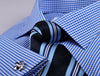 B2B Shirts - Blue Easy Iron Gingham Check Formal Business Dress Shirt Luxury Designer Fashion - Business to Business