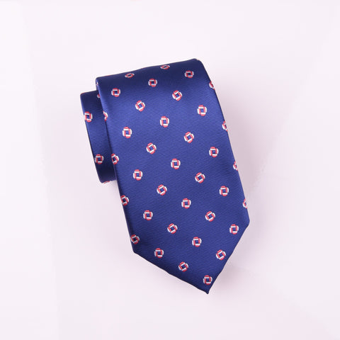 "B2B Shirts - Designer Linked Square Chains Blue Luxury Skinny Woven Tie 3"" - Business to Business"