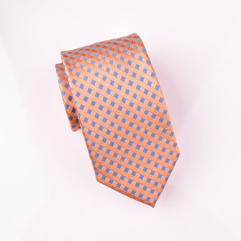 "B2B Shirts - Orange Bronze Basketweave Blue Geometric Skinny Woven Tie 3"" - Business to Business"