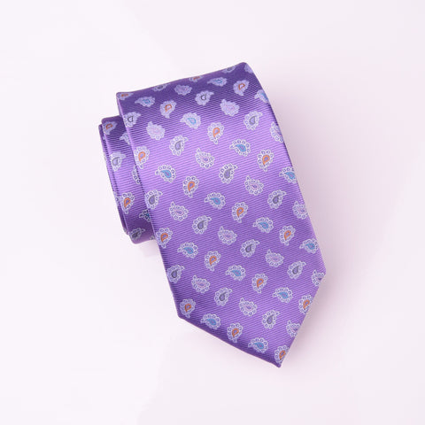 "B2B Shirts - Multi-Coloured Designer Floral Paisley Purple Luxury Woven Tie 3"" - Business to Business"