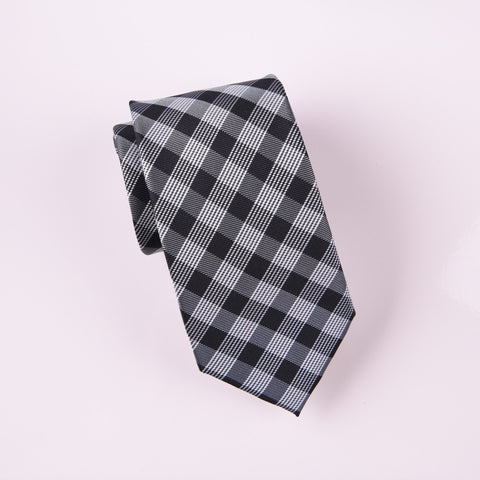 "B2B Shirts - Black Jacquard Checkered Grey Designer Striped Skinny Tie 3"" - Business to Business"