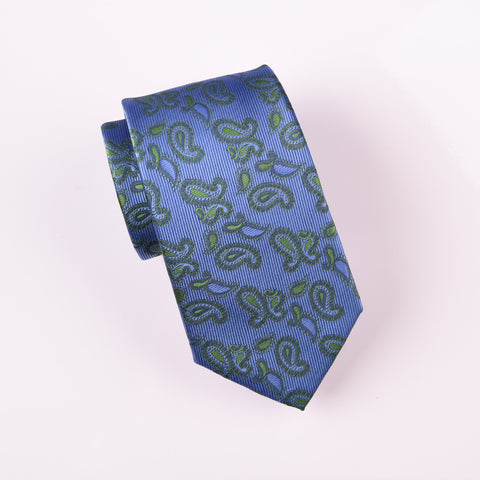 "B2B Shirts - Green Lavish Floral Paisley Blue Luxury Fashion Modern Tie 3"" - Business to Business"