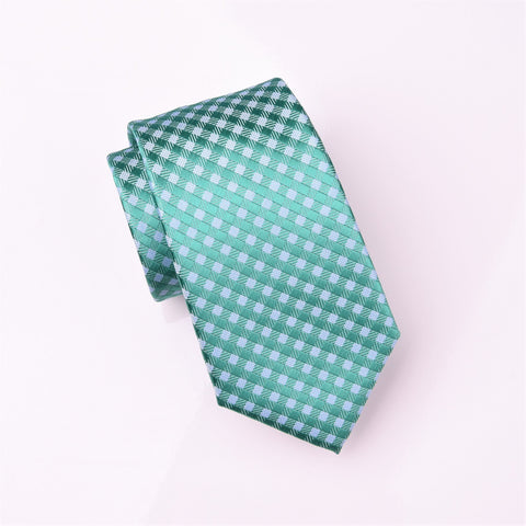 "B2B Shirts - Teal Green Basketweave Light Blue Plaids & Checks Geometric Tie 3"" - Business to Business"