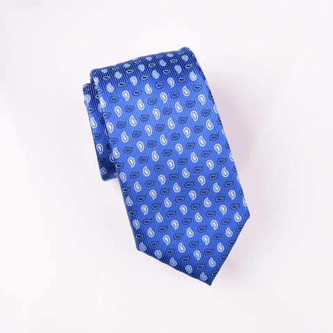 Light Blue Small Ocean Ripple Ego Paisley Droplets Modern Tie 3""