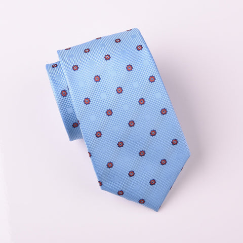 "B2B Shirts - Red Sunflower Floral Light Blue Fade Polka Dots Skinny Tie 3"" - Business to Business"