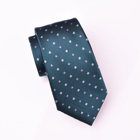 "B2B Shirts - Purple Diamond Studs Neat Geometric Green Skinny Woven Tie 3"" - Business to Business"