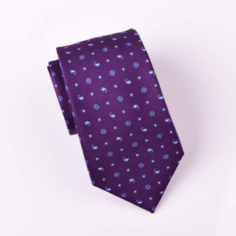 "B2B Shirts - Tri Blue Pattern Paisley Floral Diamond Studs Purple Designer Tie 3"" - Business to Business"