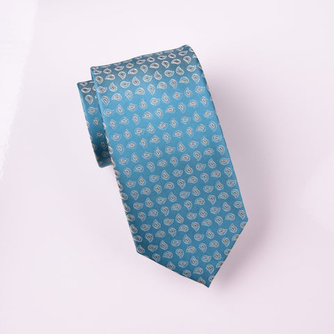 "B2B Shirts - Alternating Tan Floral Paisley Turquoise Teal Skinny Woven Tie 3"" - Business to Business"