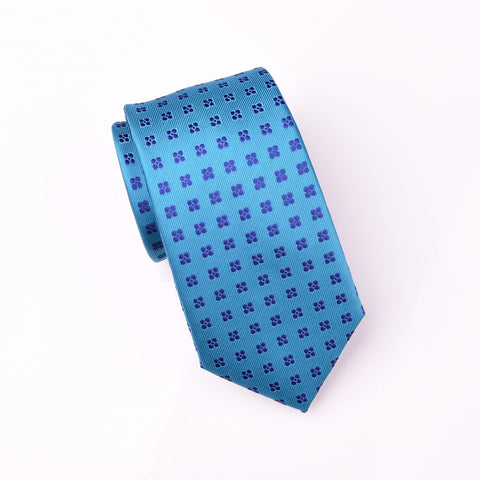"B2B Shirts - Small Purple 4 Pedal Floral Blue Flashy Green Teal Woven Tie 3"" - Business to Business"