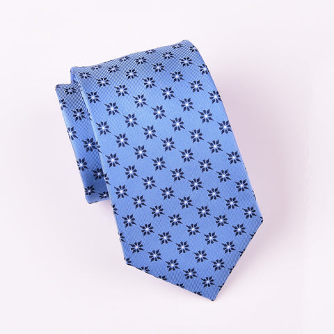 "B2B Shirts - Light Blue Sparkling Radiant Floral Luxury Designer Patterned Tie 3"" - Business to Business"
