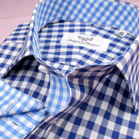 B2B Shirts - Big Blue Gingham Check Formal Business Dress Shirt Designer Checkered Inner Lining - Business to Business