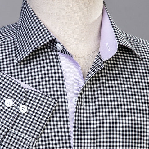 B2B Shirts - Mini Black Gingham Check Formal Business Dress Shirt Lilac Royal Oxford Fashion - Business to Business