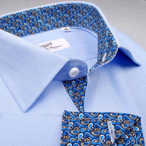 B2B Shirts - Blue Luxury Herringbone Formal Business Dress Shirt with Paisleys - Business to Business