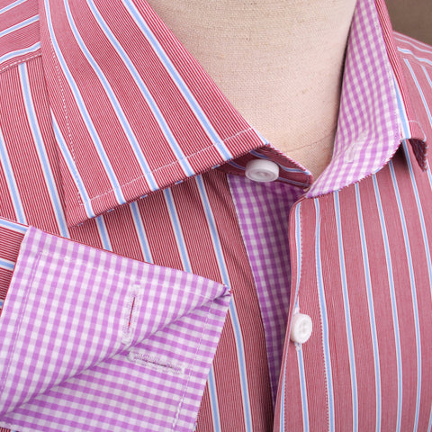 B2B Shirts - Brown Blue Formal Business Dress Shirt with Pink Gingham Checkers - Business to Business