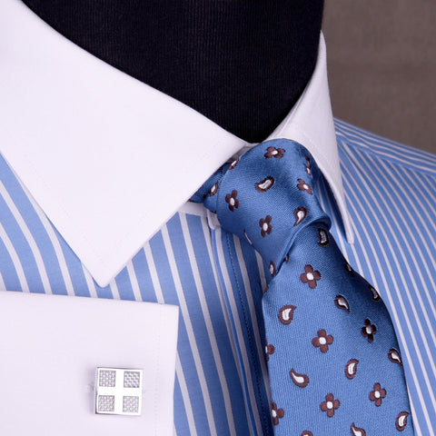 B2B Shirts - Blue Striped White Twill Contrast Cuff Formal Business Dress Shirt White Cuff Fashion - Business to Business