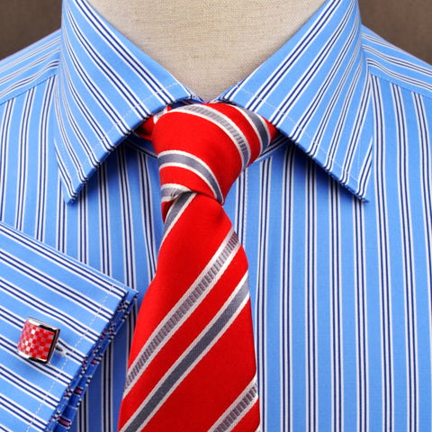 B2B Shirts - Blue Hollow Striped Formal Business Dress Shirt with Pink Designer Inner-Lining - Business to Business