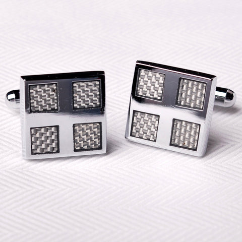 Silver Chrome Reflective Cross Mens Luxury Designer Cufflinks