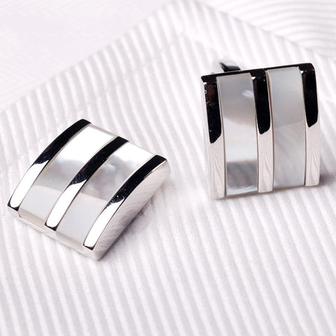 Tri Silver White Pearl Mens Luxury Designer Cufflinks