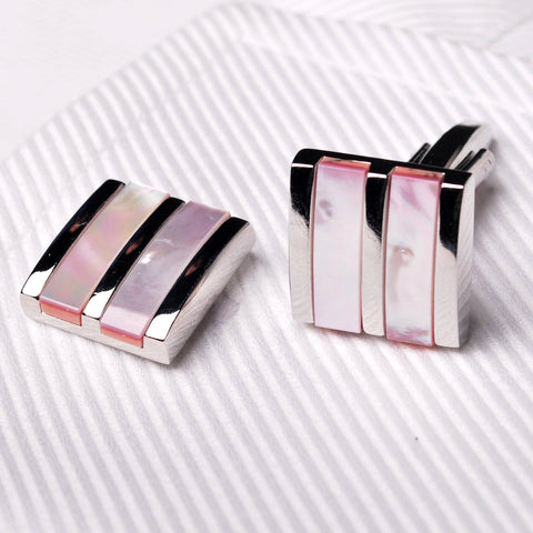 Tri Pink Nature Coral Pearl Mens Luxury Designer Cufflinks