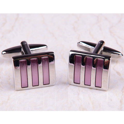 Tri Pink Soft Purple Striped Silver Mens Cufflinks Australia