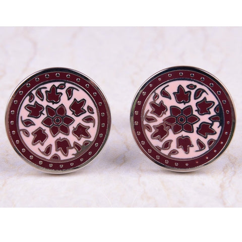 Round Circle Maple Leaf Floral Flame Mens Brown Cufflinks Australia