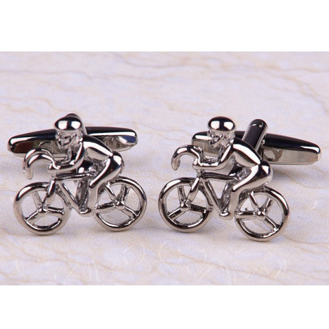 Silver Cycling Bicycle Mens Novelty Designer Cufflinks Australia