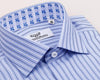 Double Blue Striped Formal Business Dress Shirt Fleur-De-Lis Floral French Cuff Fashion