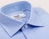 B2B Shirts - Light Blue Herringbone Formal Business Dress Shirt in French Double Cuffs - Business to Business
