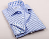 B2B Shirts - Double Blue Striped Formal Business Dress Shirt Fleur-De-Lis Floral French Cuff Fashion - Business to Business