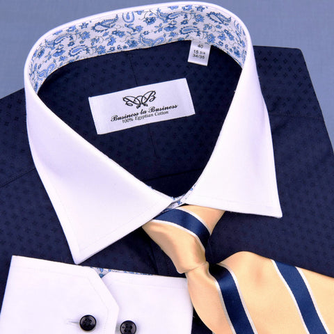 B2B Shirts - Navy Blue Diamond Luxury Formal Business Dress Shirt White Collar White Cuff - Business to Business