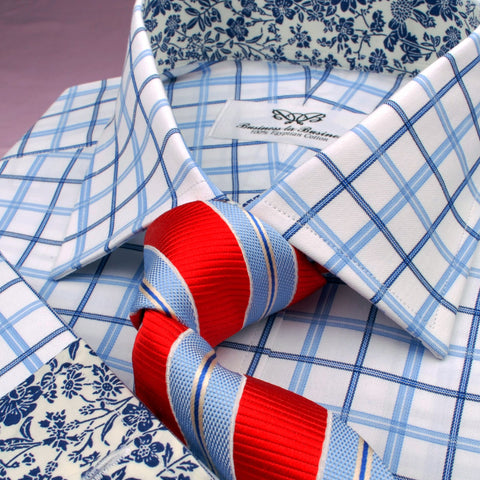 B2B Shirts - Dignified Blue Striped Check on Twill Formal Business Dress Shirt with Floral Inner-Lining - Business to Business